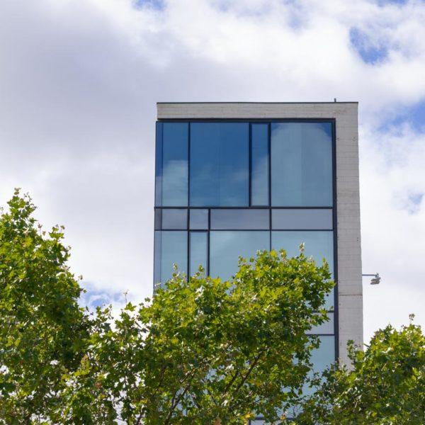 fotografia de arquitectura de edificio detras de arboles