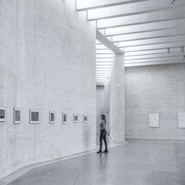 fotografia de arquitectura persona mirando cuadro musac leon
