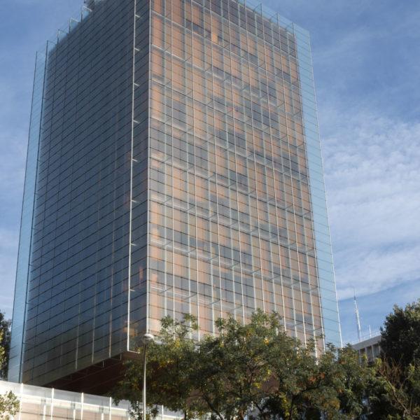 fotografia de arquitectura fachada edificio de vidrio y arboles alrededor