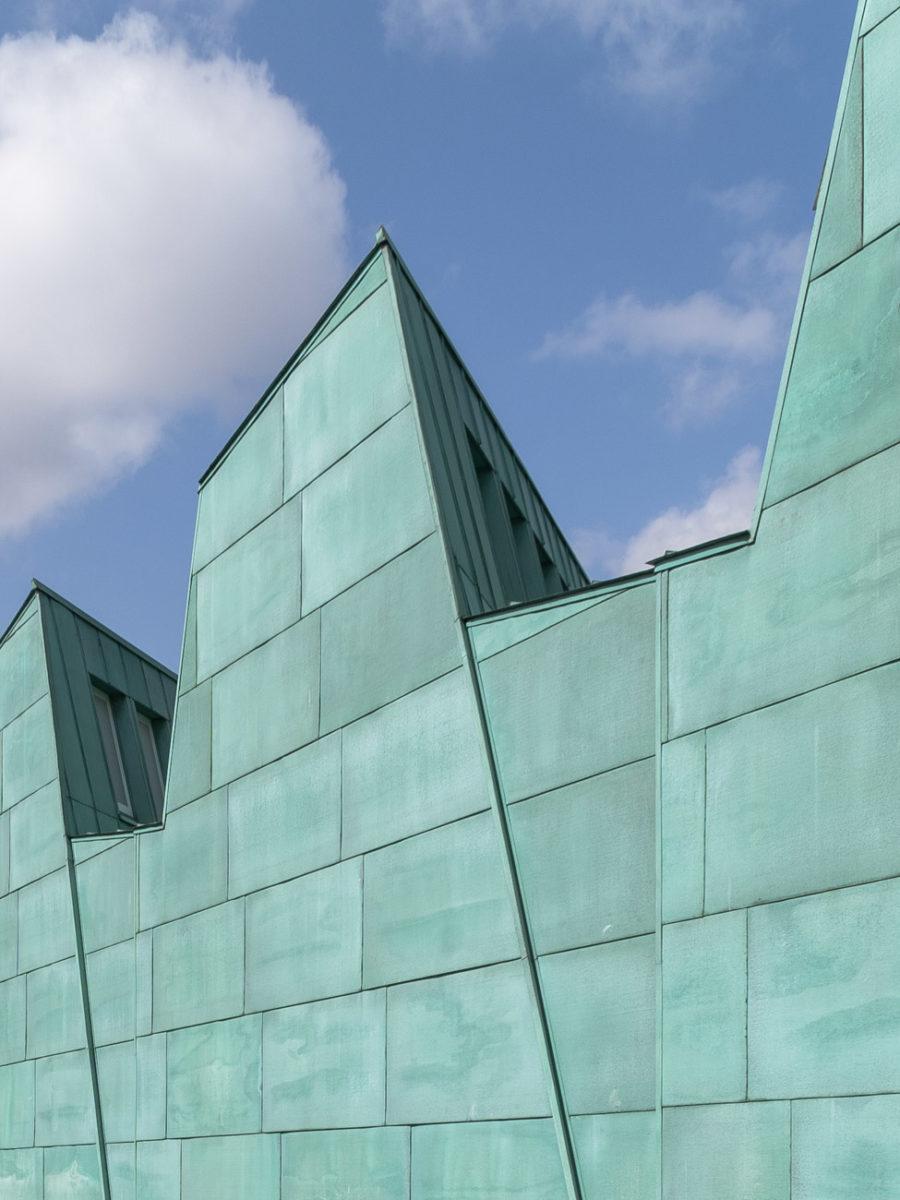 detalle fachada color verde