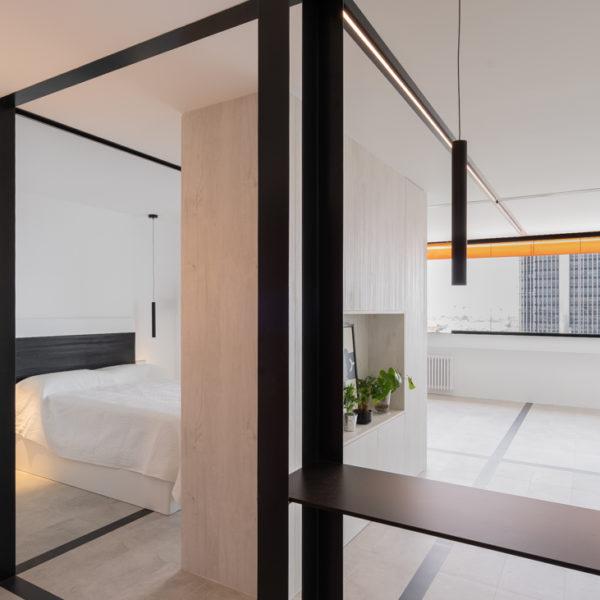 cocina y habitacion apartamento triedrico